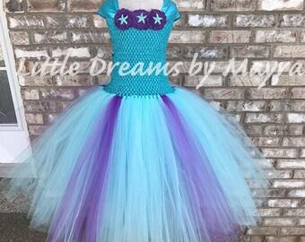 Under the sea inspired tutu dress, purple and turquoise mermaid birthday tutu dress size nb to 14years