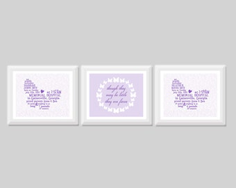 Twin Butterfly Birth Stats Wall Art Set of 3, Twin Girl Nursery Decor, Twin Girl Nursery Art, Fierce Twin Nursery Quote, Butterfly Twin Art