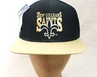 vintage new orleans saints snapback hat deastock NWT AJD adult OSFA 90s