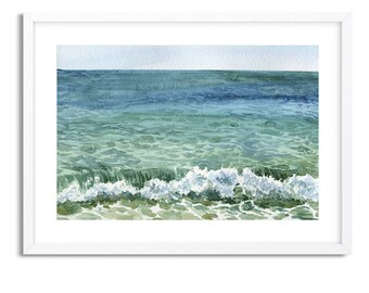 Sea Waves / Watercolor Landscape / Digital Art Print / Wall Art / Instant Download Print