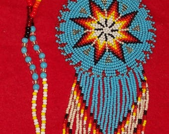 Native American Beaded Star Medallion Necklace