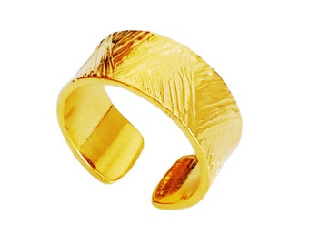 Mens Wide Band Solid Gold Plated Sterling Silver Ring  Contemporary Band.