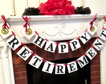 Fireman Happy Retirement Party Banner  / Retirement Banner / Firefighter Retirement Party Sign/ Retirement Party Decor / You Pick the Colors