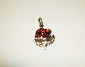 Mothers Day Rose Charm Vintage Charm Pendent in Sterling Silver  Vintage 1960 1970  Free Shipping in the USA