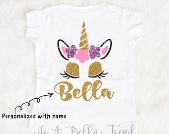 Personalized Unicorn Shirt, Unicorn Birthday Girl, Unicorn Name Shirt, Unicorn Baby, Glitter Unicorn, Unicorn Outfit Baby Girl Clothes Shirt