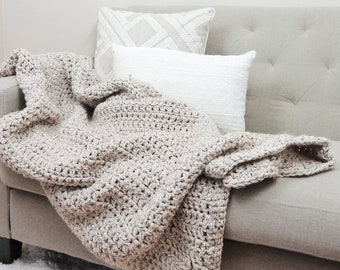 Chunky Knit Throw Blanket Afghan, Wool Blend | THE OLYMPIA | Choose Your Color