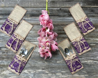 100 Burlap Utensil Holders, Silverware Holders, EGGPLANT PURPLE/GRAPE Lace, Burlap Bow - Rustic Country Decor, Wedding/Farmhouse/Shabby Chic