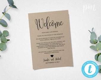 Wedding welcome notes wedding itinerary welcome letters wedding welcome bag note welcome bag letter welcome letter wedding itinerary welcome note welcome itinerary use front and back spiritdancerdesigns Image collections