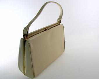 Vintage 1960's Handbag | Ivory Cream | Vinyl | Clasp Top | Inside Pocket | Black Lining