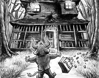 Monster House Market Cartoon Signed Print, Southworth Heavy Linen Paper