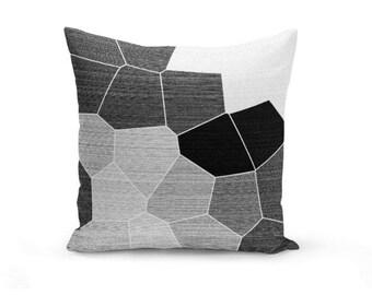 Black Grey Throw Pillow Cover, Throw Pillow Cover, Mosaic Throw Pillow Cover, Black Grey White