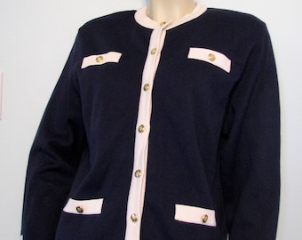 1980s Cardigan Navy Blue Nicole Summers Classic Sweater Nautical