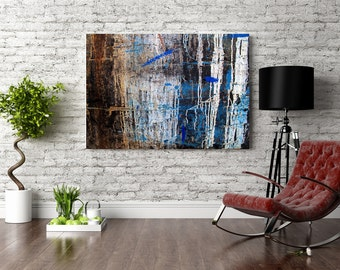 Oversize abstract photography print on canvas - Monochromatic wall art - Home decor