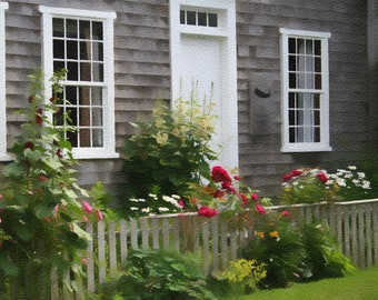 Nantucket Cottage, Pastels Photograph, Hollyhocks, Cottage Roses, Daisies, Shabby Chic
