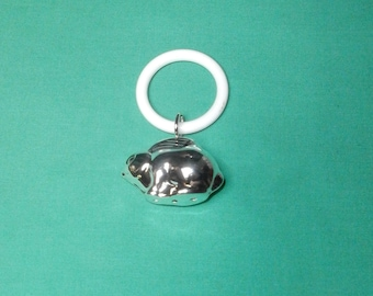 baby rattle (rabbit) with teething ring/ silver plated/ 1970s/Germany