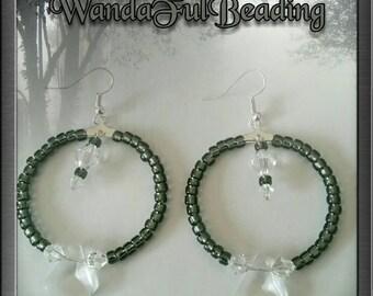 Black and Crystal Beaded Hoop Earrings