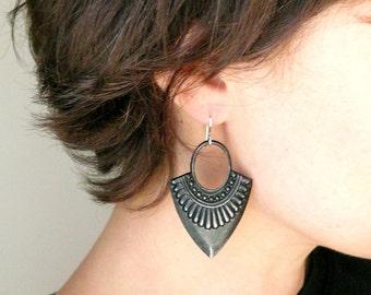 Black arrowhead tribal earrings. Black hoop earrings. Large lightweight gypsy boho earrings. Black dangle earrings sterling silver earwires.