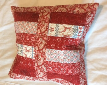 Handmade free motion Quilted Patchwork cushions using nordic Christmas fabric