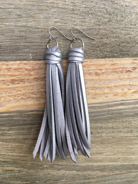 "Silver Metallic Tassel Earrings - Faux Leather Modern Tassel Fringe Earrings - Choose 2.5"" or 3.5"""