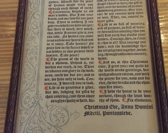 "Vintage print of calligraphy Christmas letter ""Fra Giovanni"" to the Contessina"