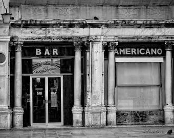 Bar Americano - Venice - Museum Exhibition - Fine art travel photography - urban cafe - black and white - humor - door, windows, signage