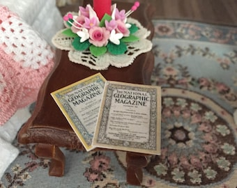 Miniature Geographic Magazines, Set of 2, Advertising on Back, Dollhouse Miniature, 1:12 Scale, Mini Magazines