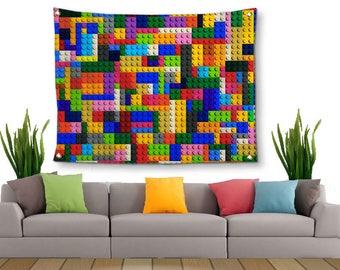 Lego Bricks Tapestry-Lightweight Tapestry-Kids Wall Decor-Fabric Wall Hanging-Lego Wall Decor-Fine Art Tapestry-Lego Wall Hanging