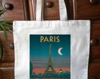 Paris vintage retro eco friendly Cotton - Shabby, Chic, Tote Bag Shopper