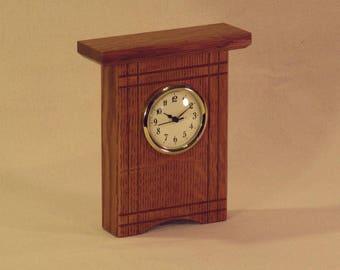 Quarter Sawn Oak Desk Clock with Accents
