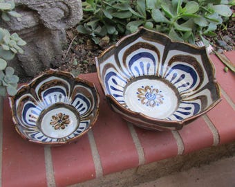 Ken Edwards El Palomar Pottery Mexican Lotus Pattern Bowls set of 2 Handpainted