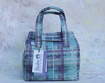 Reusable, Insulated  bento box Lunch Bag, BPA Free, white waterproof lining, plaid, work lunch, washable, school lunch bag, made to order