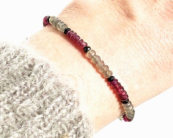 Sparkling Grey and Red Gemstone Beaded Bracelet with Labradorite and Rhodonite Garnet
