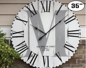 "Large Wall Clock, Personalized Wall Clock, White Distressed clock, Big clock, Oversized Clock, Wedding present, Custom Wall Clock, 35"" Clock"