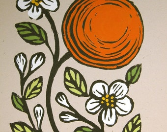 Orange and Blossoms botanical home decor original gardening art block print on recycled card stock