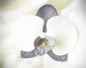 Gray and white Orchid hair clip