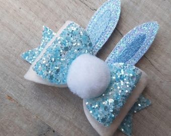Blue Easter Bunny Bow