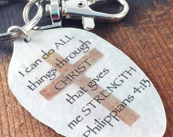 Spoon Keychain I Can Do All Things Through Christ that Gives Me Strength Phillipians 4:13, Silverware Jewelry, Scripture Gift Religious Gift