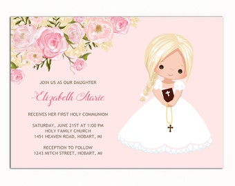 Girl First Communion Invitation, Invitacion Primera Comunión, Printable 1st Communion Invitation, Pink First Holy Communion Invitation