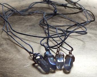 quartz points on adjustable hemp cord