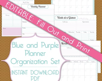Editable Planner Set PDF Instant Download Organization Printable Set in Blue and Purple