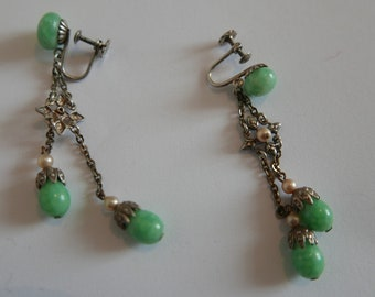 Vintage Pair of French Art Deco Silver-Jade-Pearl Earrings - 55mm drop - marked L star R Made in France.