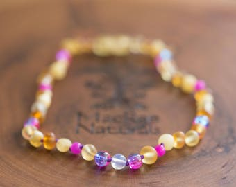 BEST SELLER- Raw Baltic Amber Teething Necklace in 'Emma'- Custom MacRae Naturals Jewelry
