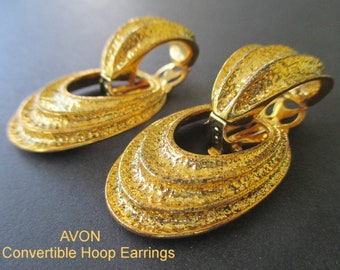 Avon Earrings * Door Knocker Statement Earrings * Two Pairs In One * Convertible Hoop Earrings