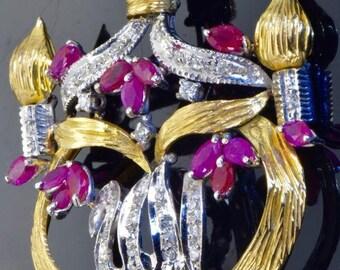 One of a kind vintage 18k vari-color gold,Diamonds&Rubies Islamic Pendant.MINT