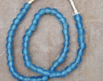Ghana Glass Beads: Light Blue (9x9mm)