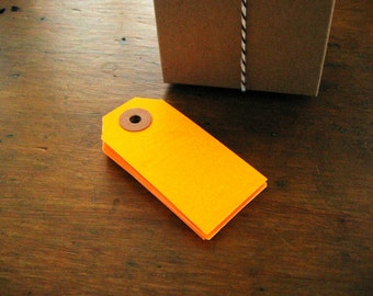 Neon Orange Gift Tags, Parcel Tags, Set of 20