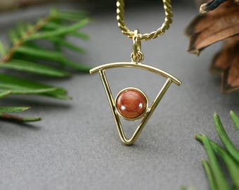 Gold triangle necklace, Gold triangle pendant with pink wood, Necklace modern design, Gold triangle pendant, Simple pendant necklace