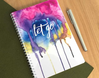 Let Go Yoga Journal. Inspiration Journal. Yoga gift. Yoga studio art. Yoga notebook. Meditation journal and notebook. Yoga gift guide.