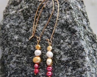 Gold freshwater pearl earrings long