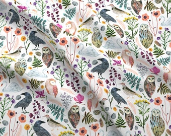Birds And Flowers Fabric - Lucid Dreams Miss Mystic Medium By Zoe Ingram - Bird Owl Flower Floral Cotton Fabric By The Yard With Spoonflower